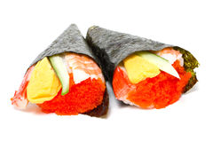 Hand Rolled Temaki Sushi Traditional Japanese Cuisine. Stock Photos