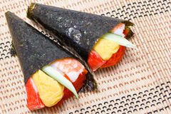 Hand Rolled Temaki Sushi Traditional Japanese Cuisine. Stock Image