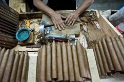 Hand Rolling Cigars royalty free stock image