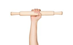 Hand with rolling pin Royalty Free Stock Photo