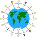 Hand in hand rond de wereld Royalty-vrije Stock Afbeeldingen