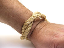 Hand and rope Royalty Free Stock Images