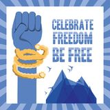 Freedom lifestyle design. Hand and rope of freedom lifestyle and raised theme Vector illustration Stock Images