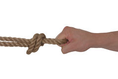 Hand and rope isolated Royalty Free Stock Images