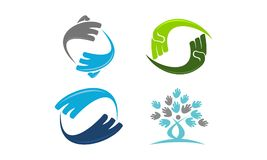 Hand Rotation Template Set. Vector Royalty Free Stock Image