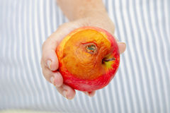 Hand with rotten apple Stock Image