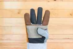 Hand in rough leather glove Stock Photography
