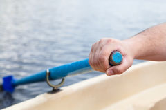 Hand rower rowing paddle during boating Royalty Free Stock Images
