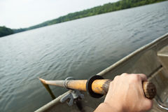Hand rowing boat Stock Photo