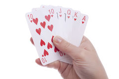 Hand with royal flush Stock Image