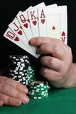 Hand with royal flush Royalty Free Stock Photo
