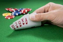 Hand of royal flush - hearts Stock Photography