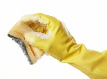 Hand in rubber glove 10 Stock Photo