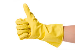 Hand in rubber glove Stock Photography