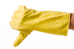 Hand in rubber glove Stock Photos