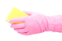 Hand in rubber glove Stock Image