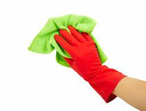 Hand in rubber glove Royalty Free Stock Images