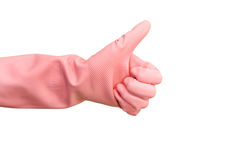 Hand in rubber glove Royalty Free Stock Image