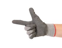 Hand in rubber glove as gun. Stock Image