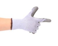 Hand in rubber glove as gun. Royalty Free Stock Image