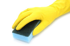 Hand with rubber glove and cleaning sponge Stock Images