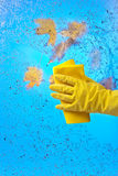 Hand in rubber glove cleaning window on a blue sky background Royalty Free Stock Photography