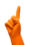 Hand with rubber glove forefinger up. On white background Stock Images