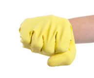 Hand in a rubber glove gesturing fist Royalty Free Stock Images