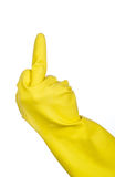 Hand in a rubber glove giving the finger royalty free stock photo