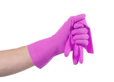 Hand in rubber glove, ready for cleaning Stock Photo
