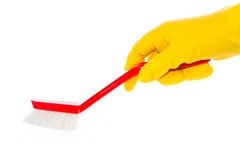 Hand in rubber glove with red dishwashing brush. Against white background Stock Photography