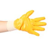 Hand in rubber glove showing five. Royalty Free Stock Images