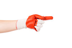 Hand in rubber glove showing one. Stock Images