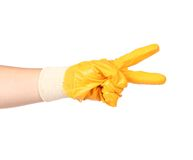 Hand in rubber glove showing two. Royalty Free Stock Photo