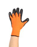 Hand in rubber glove shows five. Royalty Free Stock Images