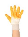 Hand in rubber glove shows five. Royalty Free Stock Photography