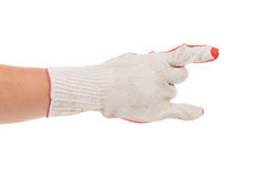Hand in rubber glove shows rock sign. Stock Photo