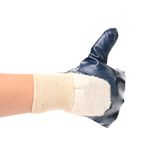 Hand in rubber glove shows thumbs up. Isolated on a white background royalty free stock image