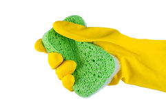 Hand in rubber glove with sponge. Royalty Free Stock Images
