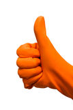 Hand with rubber glove thumb up Stock Image