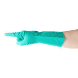 Hand in rubber latex glove with counting one pointing finger sign gesture over white isolated background Royalty Free Stock Images