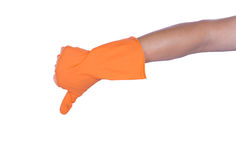 Hand with rubber orange glove Royalty Free Stock Image