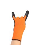 Hand in rubber protective glove shows rock sign Royalty Free Stock Photo