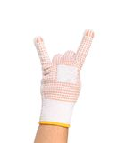 Hand in rubber protective glove shows rock sign Stock Image
