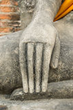 Hand of Ruin image of Buddha. In Ayutthaya historical park, Thailand Stock Photo
