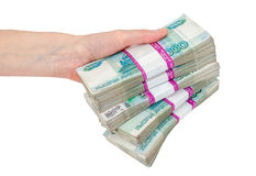 Hand with russian roubles bills Royalty Free Stock Photography
