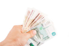 Hand with russian rubles Stock Images