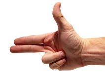 Hand's up - bang (with clipping path) Stock Photos