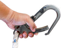 Hand and Safety stanless steel hook isolated on white background Stock Photos