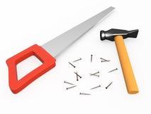 Hand sah, Hammer und Nägel, 3D Lizenzfreies Stockfoto
